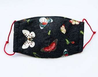 """handmade mask for mouth, breath, dust, air, wind protection, """"butterflies"""", colorful butterflies on black background, red rubber cord"""
