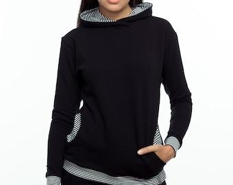 Hoodie/ Sweatshirt stripes, black, roughened sweatshirt fabric, with striped cuffs, stripes in pockets and hood