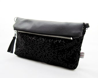 """2 in 1: clutch, small shoulder bag made of leatherette """"glitter"""", black leatherette and black velvet with sequins"""