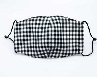 """handmade mask for mouth, breath, dust, allergy, air, wind protection, """"We are Mods"""", black and white gingham, black rubber cord"""