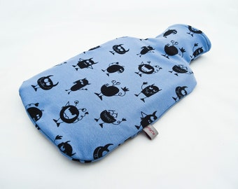 """Hot-water bottle """"Monster"""", cover for 2 litre hot-water bottle, made of jersey, printed with black monsters, hot water bottle available"""