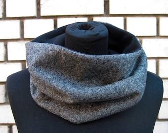 """Winter Loop-Scarf """"Tweed"""", short loop-scarf in polarfleece and a woolblend, for men, unisex"""
