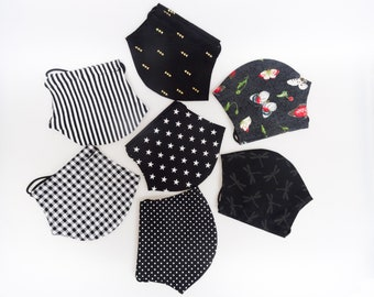 "handmade overcoat, cover for FFP2 masks ""Black"", different motives, matching rubber cord, suitable for many FFP2 masks"