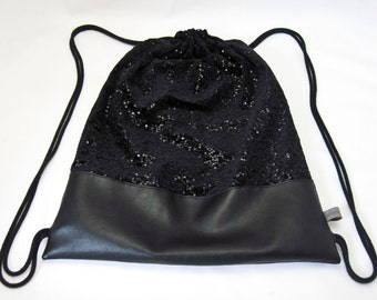 "Gym Bag - Sports Bag - Bag - Backpack ""Sky Full of Stars"", black sequins and black faux leather, glitter"