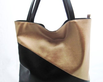 """XL-Shopper - Shoulder Bag - Tote Bage - Pouch - Bag made of leatherette """"gold"""", gold and black faux leather"""