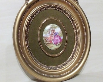 Shabby chic picture antique wall picture antique picture Cameo picture hand-painted cameo gold picture frame Cameo picture shabby chic
