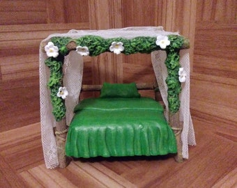 Fairy bed fairy house fairy furniture garden fairy fairy furniture fairy garden miniature fairy small bed doll house Gnome house