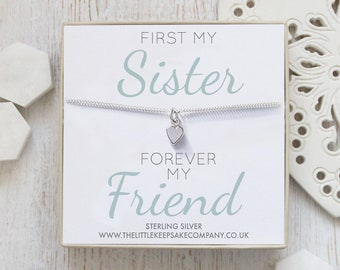 Sterling Silver Curb Chain Heart Bracelet - 'First My Sister, Forever My Friend'