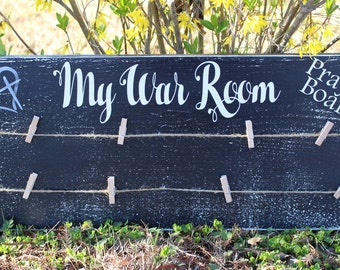"My War Room Prayer Board 21"" x 9"" x 3/4""."