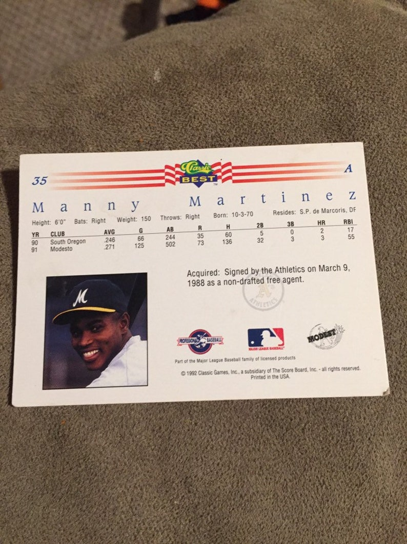 Vintage 1992 Manny Martinez Baseball card