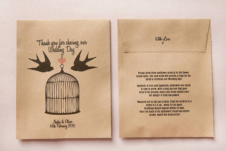 10 Love Birds Personalised Seed Packet Favours