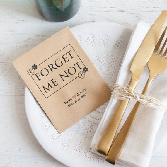 10 Forget Me Not Seed Packet Favours By Wedding In A: 10 Forget Me Not Personalised Seed Packet Favours