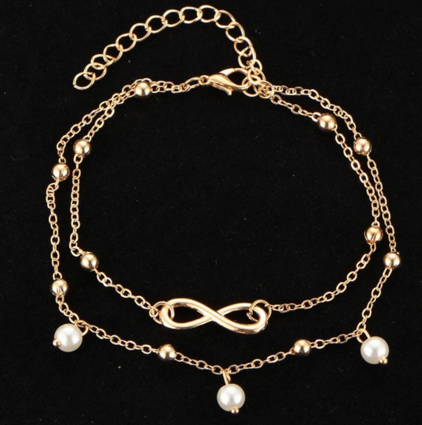 8ed0b497368 Gold plated anklet bracelet infinity double with pearl design