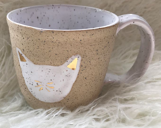 Featured listing image: Cat white gold and speckled mug