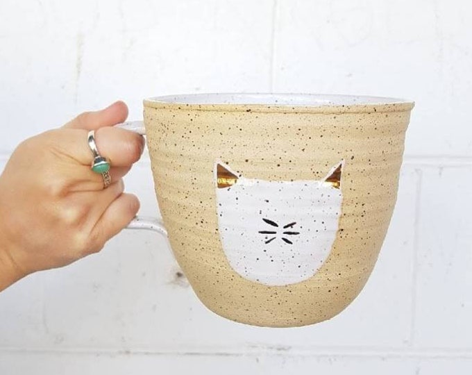 Featured listing image: Massive gold and ceramic cat mug