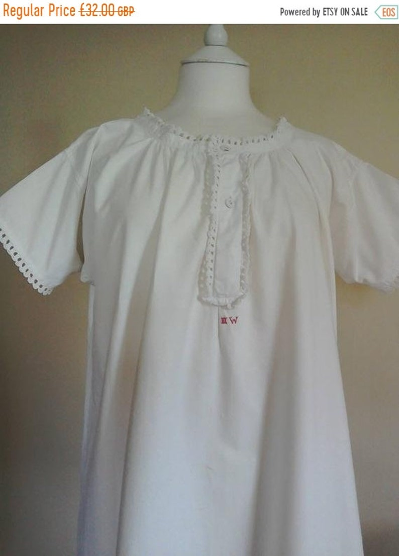 5de309af44 Vintage Nightdress Antique White Cotton Short Nighty Edwardian