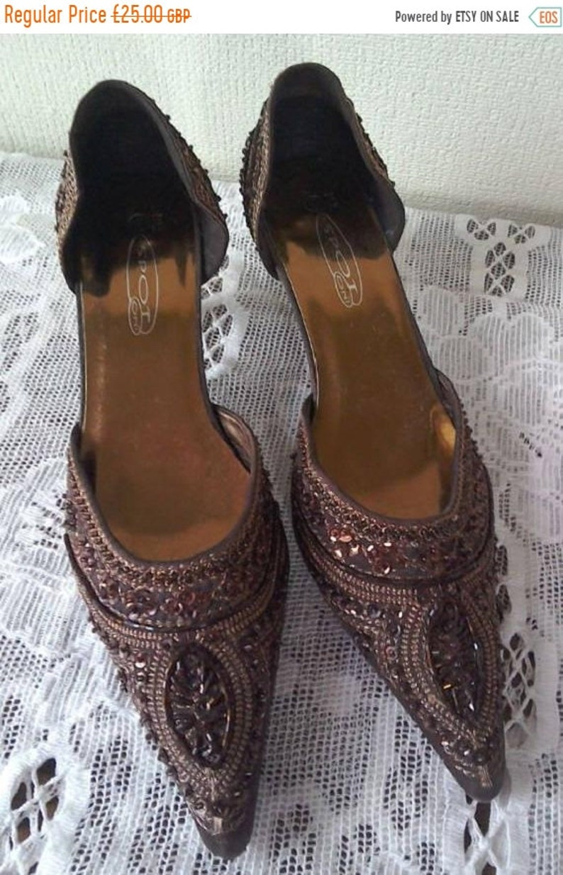 802d01571c09 Shoes Bronze Beaded Sequin Encrusted Pointed Toes Open Sides