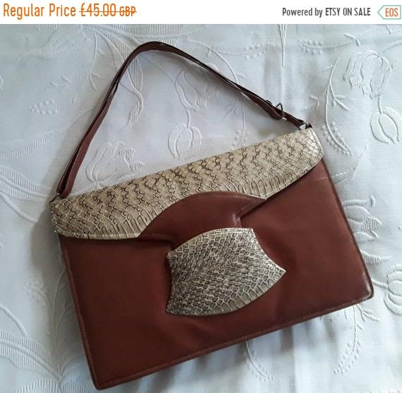1940s LEATHER and SNAKESKIN HANDBAG Vintage Fortie