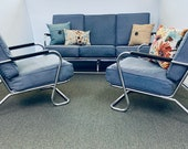 LOVE AMERICA Sale- Antique Mid Century Lloyd Tubular Couch and 2 Chairs Set Deco Chrome
