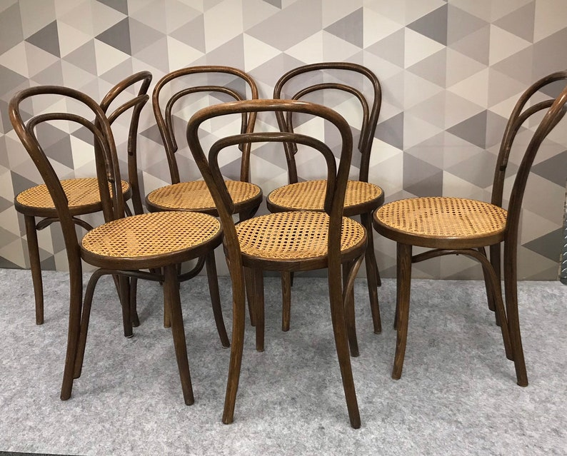 SALE Vintage Set of 6 Bentwood Chairs Made in Poland FREE SHIPPING