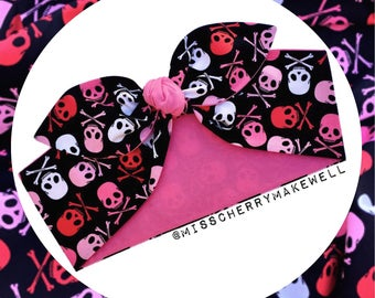 88212c76afe7 Pink Skull and Crossbones Rockabilly 1950's Pin Up Punk Alternative  Inspired Head Scarf Hair Tie Headscarf Hair Bow by Miss Cherry Makewell