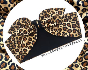 Black & Leopard Animal Print Rockabilly Vintage 1940's 1950's Pin Up Inspired Head Scarf Hair Tie Headscarf Hair Bow by Miss Cherry Makewell