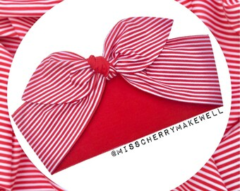 Popcorn Red and White Stripe Circus Rockabilly Punk Vintage 1950's Pin Up Inspired Head Scarf Hair Tie Hair Bow by Miss Cherry Makewell
