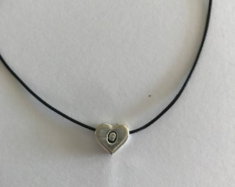 Silver 10mm monogram heart charm on wax cord