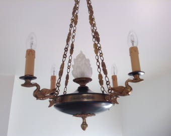 Counterweight light etsy elegant empire style bronze brass ceiling light pendant lamp circa 1920 40s 4 branch arms central flambeau stunning vintage french aloadofball Images