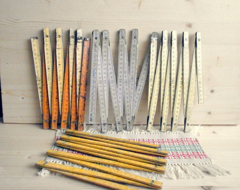 Industrial supplies Measuring tools Meter stick collapsing ruler Old wooden folding wooden ruler 2 meter length ruler yellow white ruler