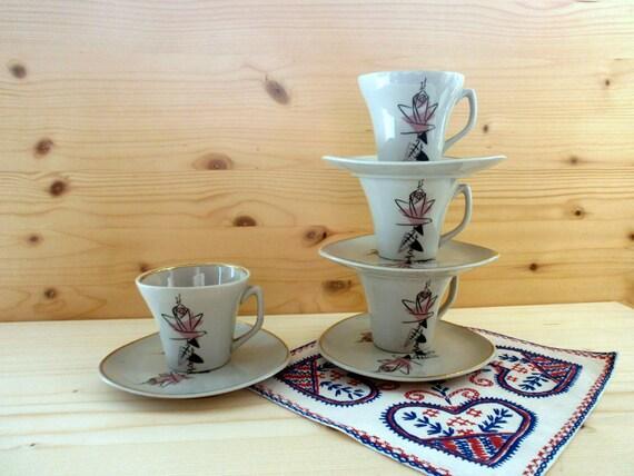 Vintage tasse tasse de café thé Floral en céramique de porcelaine avec soucoupe thé collection partie expresso tasse en porcelaine russe vaisselle des années 1970 vintage