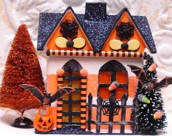 Small Haunted Halloween House OOAK FlitterVille Bat Pumpkin Lighted 7 Inch
