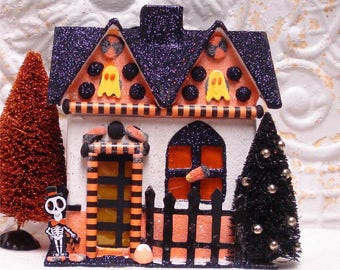 Small Haunted Halloween House OOAK FlitterVille Ghost Skeleton Lighted 7 Inch