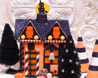 Small Haunted Halloween House OOAK FlitterVille Bats Owl Lighted 7 Inch
