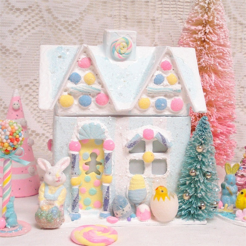 Easter Gingerbread House Lighted Decoration Turquoise 7 Inch Etsy