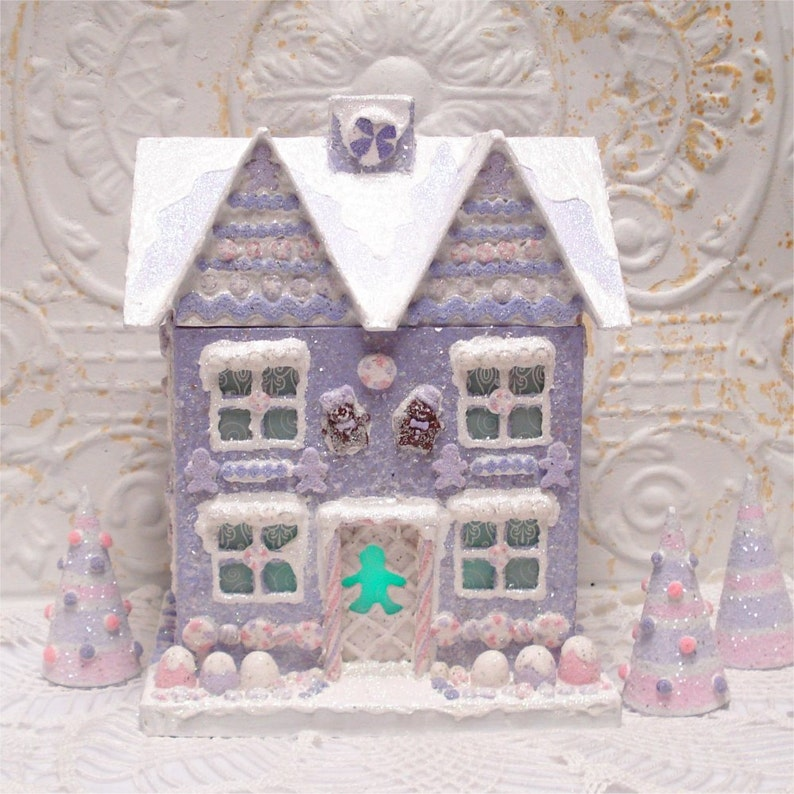 Prime Large Gingerbread House Lavender Lighted Ooak Download Free Architecture Designs Rallybritishbridgeorg