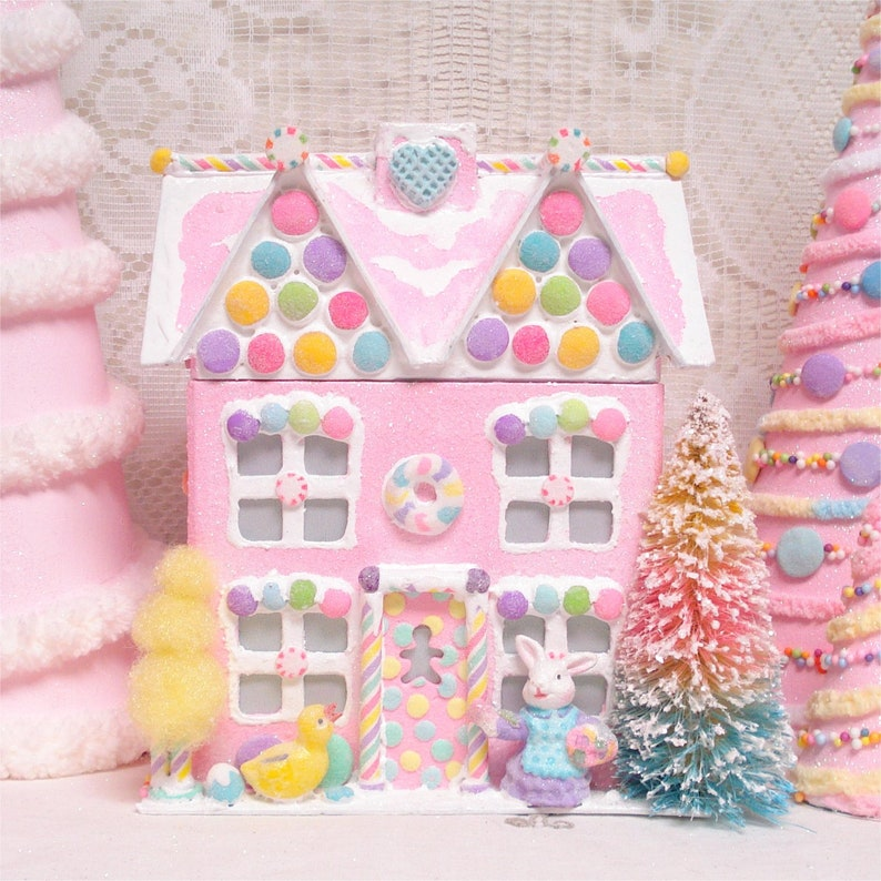 Ooak Pink Easter Gingerbread House Lighted 10 Girl Bunny Etsy