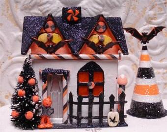 Small Haunted Halloween House OOAK FlitterVille Bats Lighted