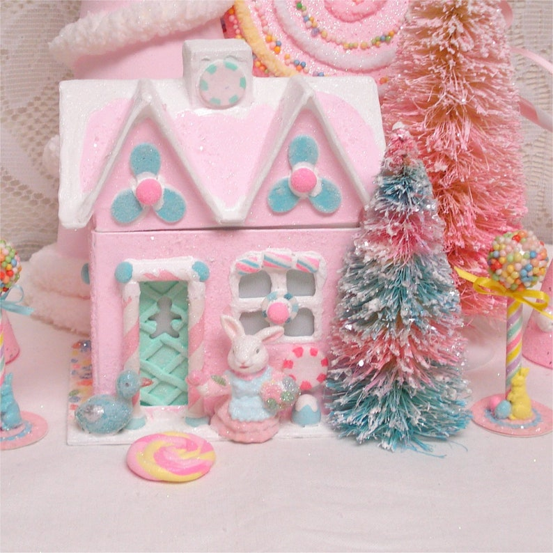 Easter Gingerbread House Lighted Decoration Pink 7 Inch Etsy