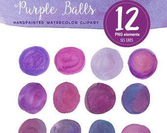 Purple watercolor balls and ovals, watercolor clipart round shapes violet and mauve, watercolor graphics PNG files by SLS Lines