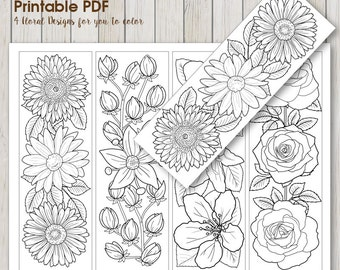 Instant Download Bookmark Coloring With Pretty Flower Design Etsy