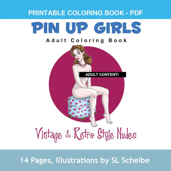 Adult Coloring Book Pdf Pin Up Girls Retro Style Nude Etsy