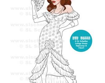 Digistamp, Flamenco Dancer, Spanish Dancer, digital stamp, instant download