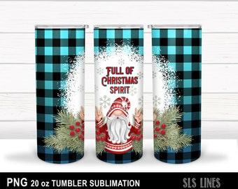 Skinny Tumbler Sublimation - Christmas Gnome - Full of Christmas Spirit PNG