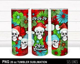 Skinny Tumbler Sublimation - Christmas Skulls with Santa Hats & Flowers PNG