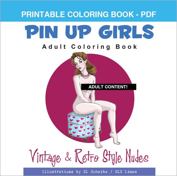 - Adult Coloring Book PDF Pin-up Girls Retro Style Nude Etsy