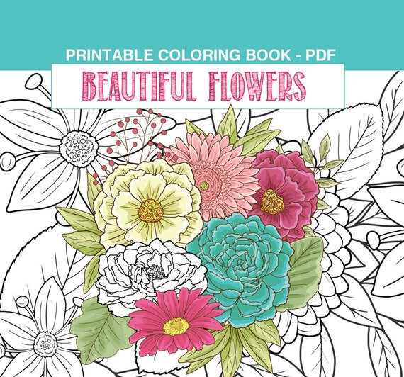 Flowers Adult Coloring Book PDF Printable Pages With Pretty Etsy