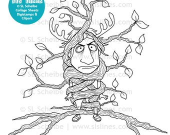 Tree hugger digistamp, environmentalist digital stamp, nature lover coloring page instant download, greenie