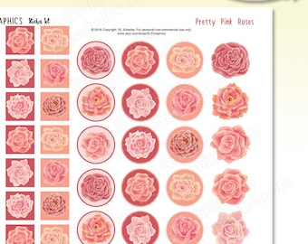 Pink Roses Printable Planner Stickers PDF - Instant Download, printable sticker set peach pink watercolor florals, rose theme PDF