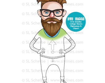 Hipster digital stamp, super cool groovy hipster digistamp with undercut and beard, coloring page